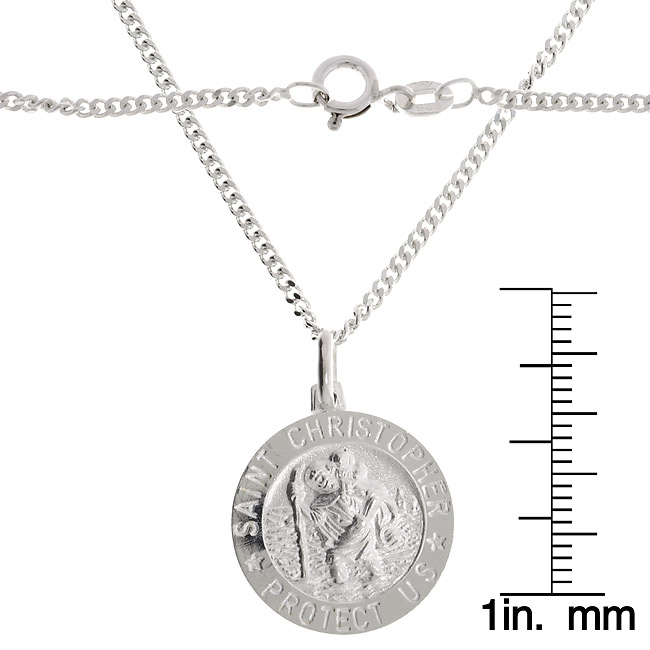 Sterling Essentials Sterling Silver 22-inch Saint Christopher Medal Necklace