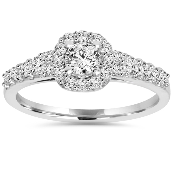 14k White Gold 3/4 ct TDW Diamond Halo Engagement Ring (I-J, I2-I3)