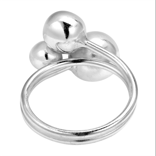 Fashionable Trio Shiny Ball. 925 Sterling Silver Ring (Thailand)