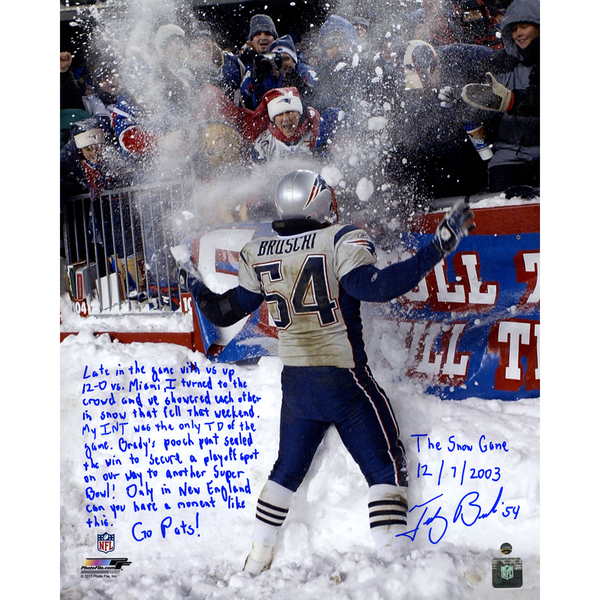 Tedy Bruschi Signed Snow Game and Super Bowl 16x20 Story Photo (L/E of 50)