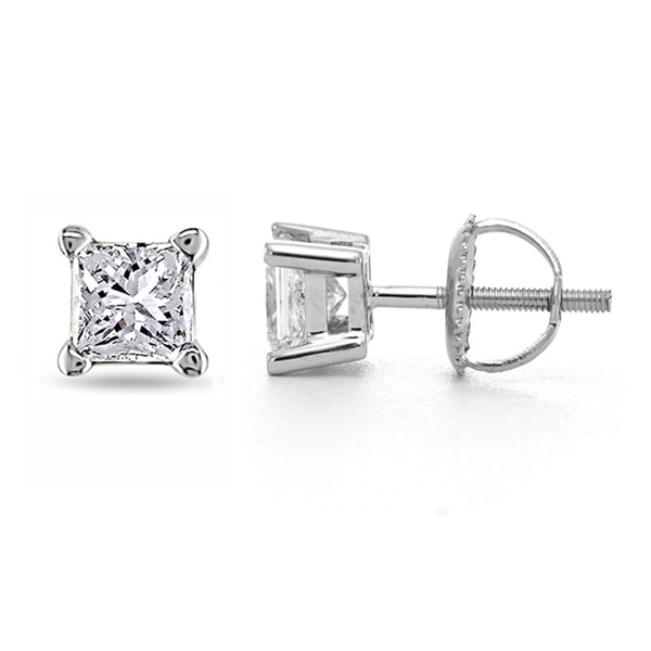 Montebello 14k White Gold 1/4ct TDW Certified Diamond Stud Earrings