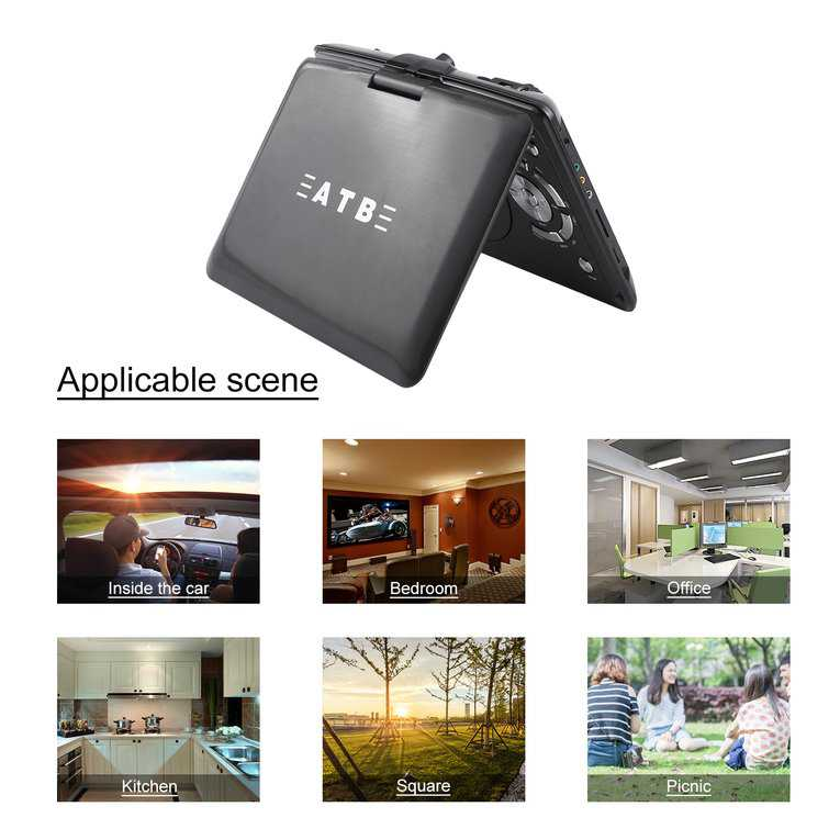 Black 7.8 Inch Ultra-Thin Hd Mobile Dvd Player Hi-Speed Usb Game Dvd Player