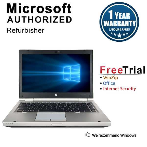 Refurbished HP EliteBook 8460P 14' Laptop Intel Core i5-2520M 2.5G 12G DDR3 1TB DVD Win 10 Pro 1 Year Warranty - Silver