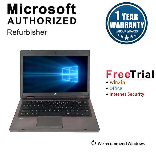 Refurbished HP ProBook 6460B 14.0'' Laptop Intel Core i3-2310M 2.1G 4G 250G DVDRW Win 10 Pro 1 Year Warranty - Black